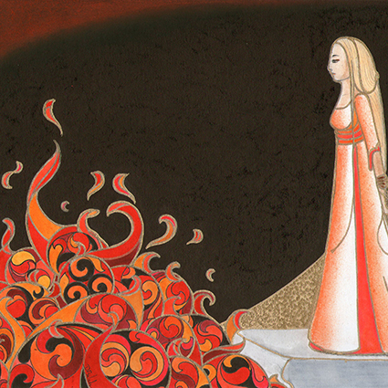 Isolde facing the flames