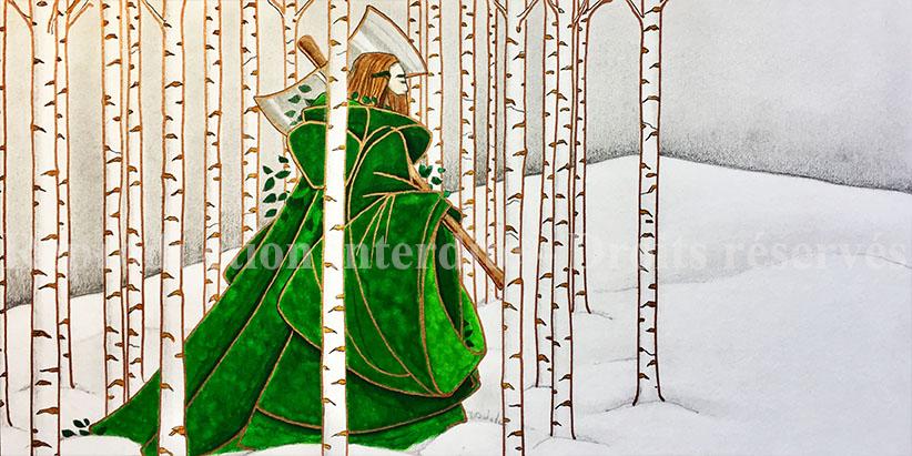 Le fil du temps illustration Sire gauvain et le Chevalier Vert