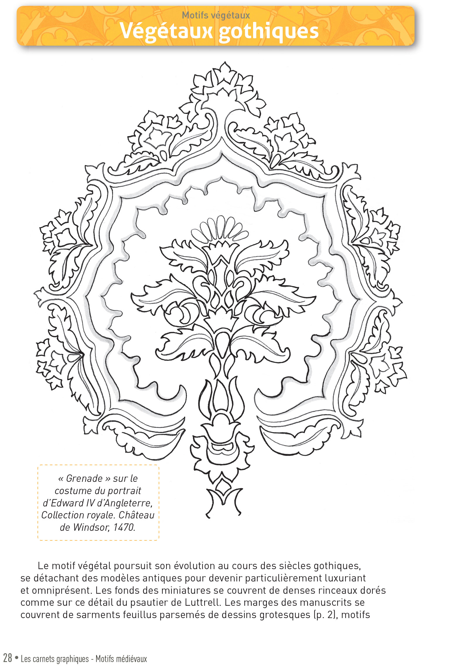 p28 carnet graphique motifs medievaux