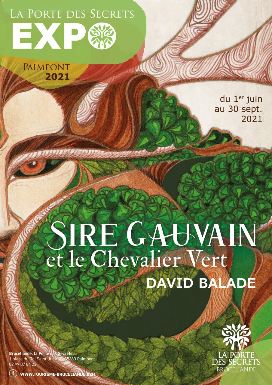 Affiche Exposition Sire gauvain et le Chevalier Vert Porte des Secrets Paimpont été 2021