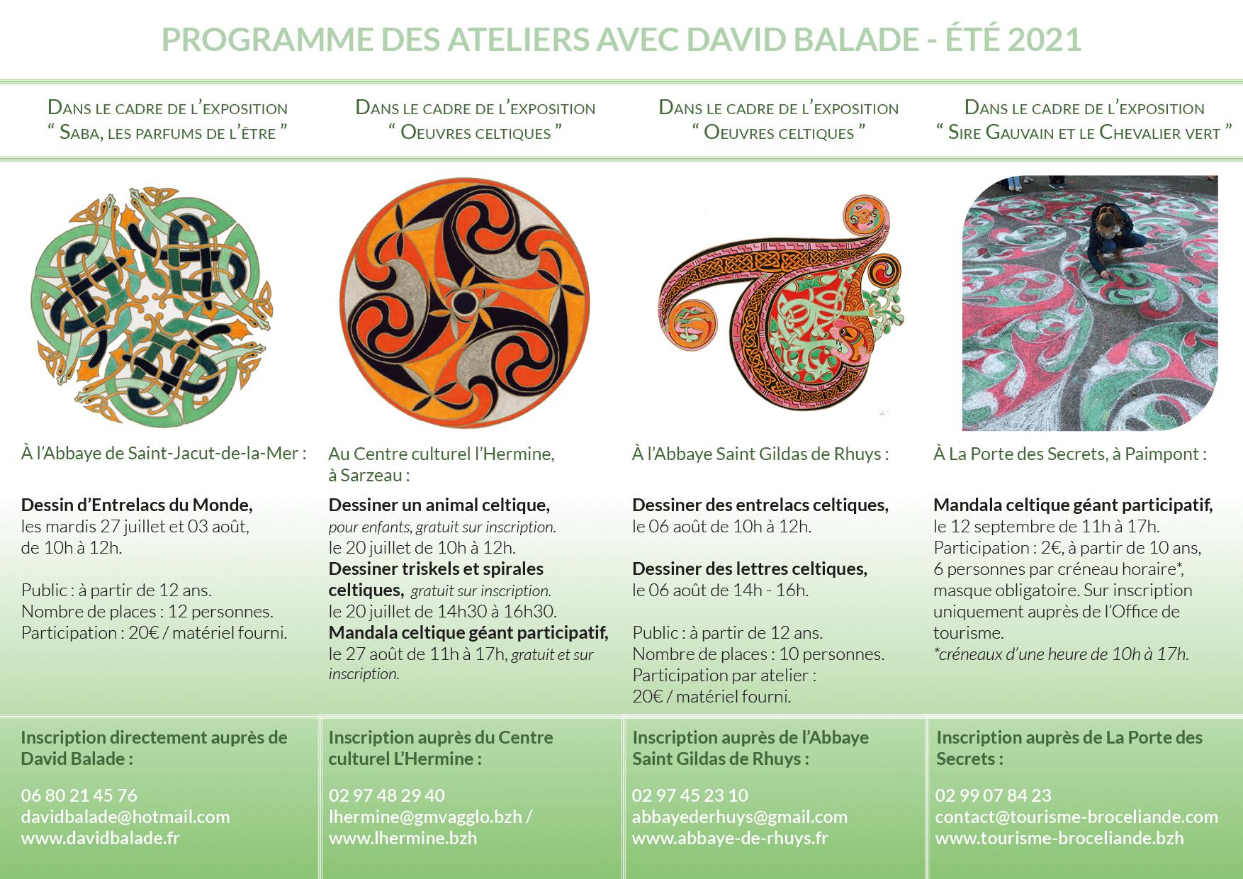 Programme des ateliers de dessin et mandalas avec David BALAdE cet été 2021